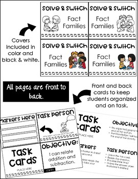 Solve and Switch Math Task Cards | Math Centers | Fact Families