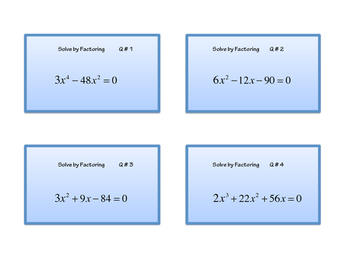 Solve by Factoring Polynomials-Find the Zeroes: 20 Task Cards