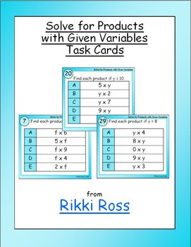 Solve for Multiplication Products with Given Variables Task Cards (Set 2)
