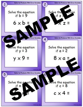 Solve for Products with Given Variables Task Cards (Set 1)