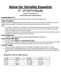 Solve for Variable Equation Game Puzzle with Worksheet