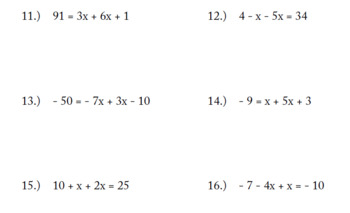 Solve for X EXAM (50 problems)
