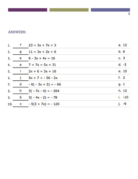 Solve for X (Matching Quiz)
