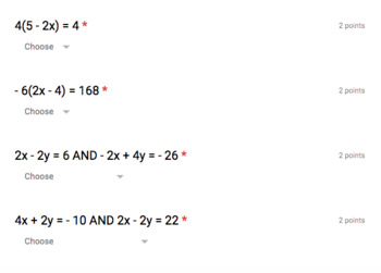 Solve for X Pre-Test (automatic grading Google Form)