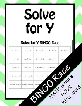 Solve for Y BINGO Race