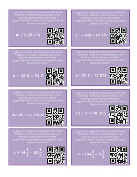 Solve for a Variable - Algebra Task Cards