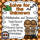 Solve for an Unknown Game and Printables - Multiplication and Division