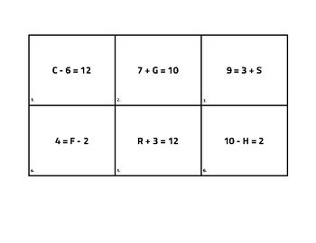 Solve for the Missing Variable Task Cards
