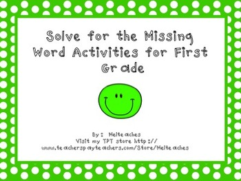 Cloze (missing word) Reading Strategy SMART Notebook Activities