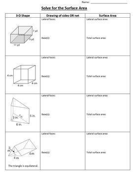 Solve for the Surface Area 3D shapes Nets Geometry 3 D Lateral Faces Bases