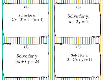 Solve for the Variable Task Cards