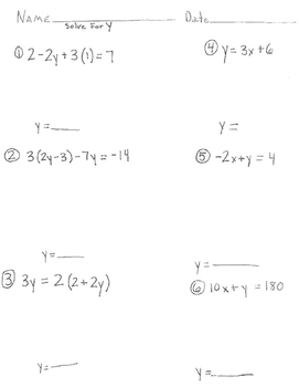 Solve for x or y