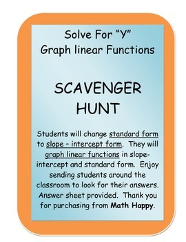 Solve for y and Graph Linear Functions Scavenger Hunt