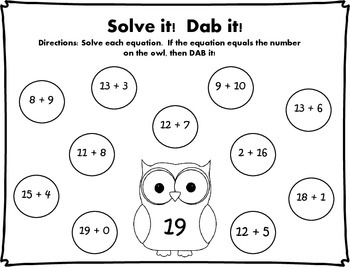 Solve it!  Dab it! Addition