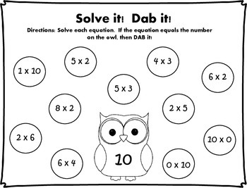 Solve it!  Dab it! Multiplication