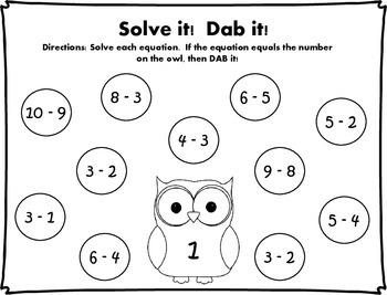 Solve it!  Dab it! Subtraction