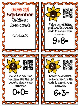 Solve it! September Addition Task Cards with Qr Codes