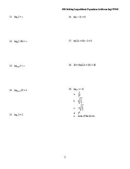 Solve log equations (one log)