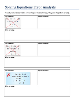 Solve multi-step equations error analysis