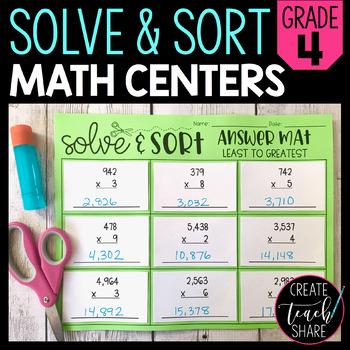 Solve & Sort Math Centers - 4th Grade