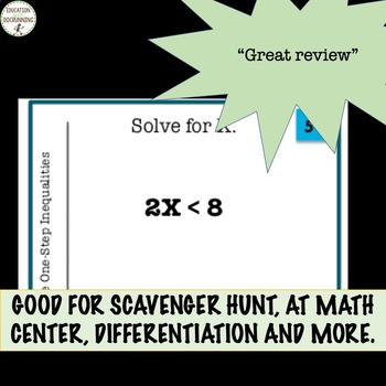 One-step linear inequalities task card activity