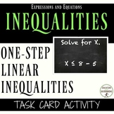 One Step linear inequalities task card activity