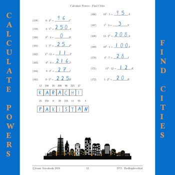 Solve powers and find cities