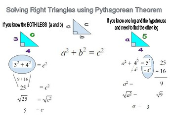 Solve right triangles using pythagorean theorem