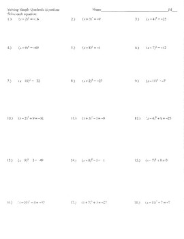 Quadratic Equations With Complex Solutions Worksheets ...