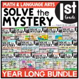 Solve the Mystery BUNDLE | Math & ELA Task Card Activity 1st Grade