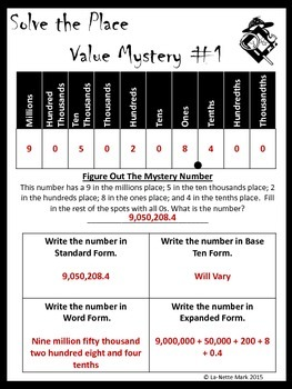Solve the Place Value Mystery II (With Decimals to Thousandths)