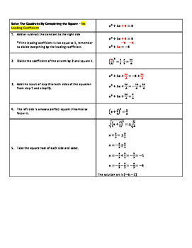 Solve the Quadratic By Completing the Square
