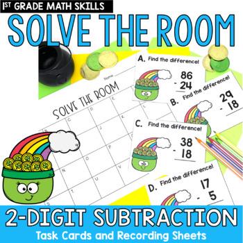 Solve the Room - 2-Digit Subtraction: A Math Center Task Card Set