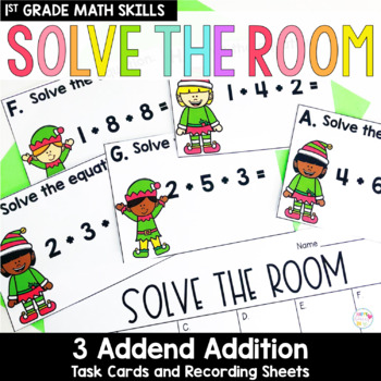 Solve the Room - 3 Addend Addition: A Math Center Task Card Set