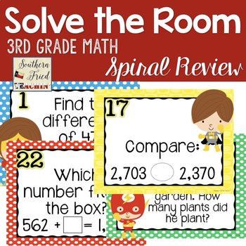 Math Spiral Review - Solve the Room 3rd grade