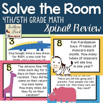 Math Spiral Review - Solve the Room Word Problems