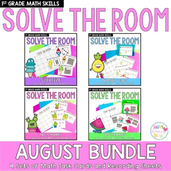 Solve the Room - August BUNDLE : A Collection of 4 Math Center Task Card Sets