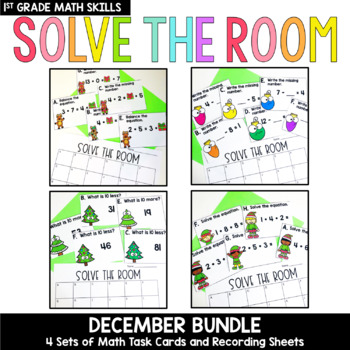 Solve the Room - December BUNDLE : A Collection of 4 Math Center Task Card Sets