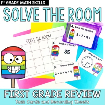 Solve the Room First Grade Skill End of Year Review: A Math Center Task Card Set
