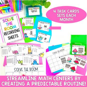 Solve the Room First Grade Yearlong Growing MEGA Bundle- Math Center Task Cards
