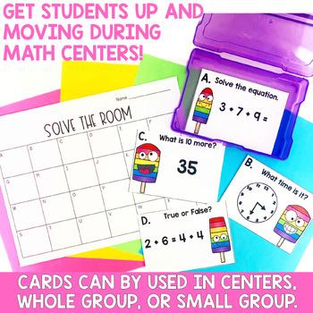 Solve the Room First Grade Yearlong MEGA Bundle- Math Center Task Cards