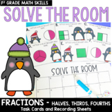 Solve the Room - Fractions: Halves, Thirds, Fourths: A Math Center Task Card Set