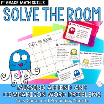 Solve the Room Missing Addend and Comparison Story Problems: Task Card Set