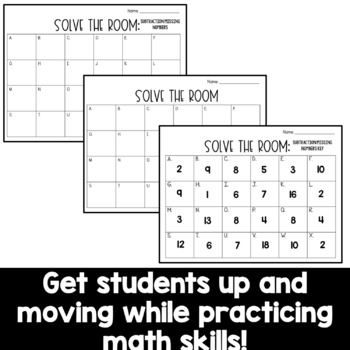 Solve the Room - Subtraction Missing Numbers: A Math Center Task Card Set