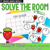Solve the Room Telling Time to the Hour and Half Hour: Math Center Task Card Set