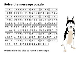 Solve the message puzzle about Balto the dog that saved Nome