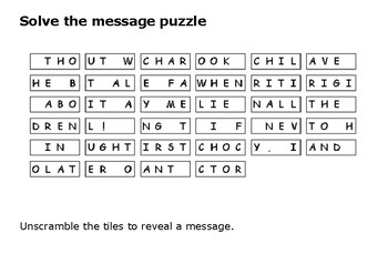 Solve the message puzzle about Charlie and the Chocolate Factory