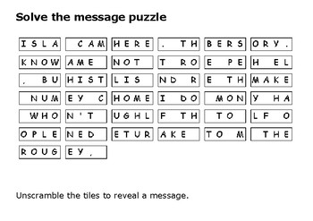 Solve the message puzzle about Ellis Isand