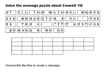 Solve the message puzzle about Emmett Till