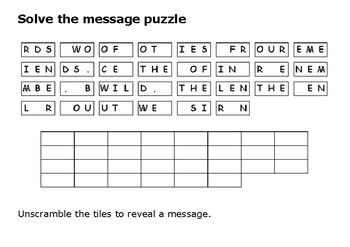 Solve the message puzzle about Memorial Day